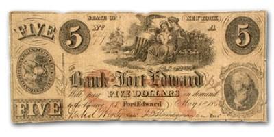 1860 Bank of Fort Edward, Frt Edward, NY $5 NY-870, VF SPURIOUS