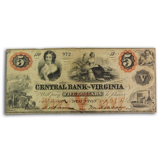 1860 Central Bank of Staunton, VA $5.00 VA-220 VF