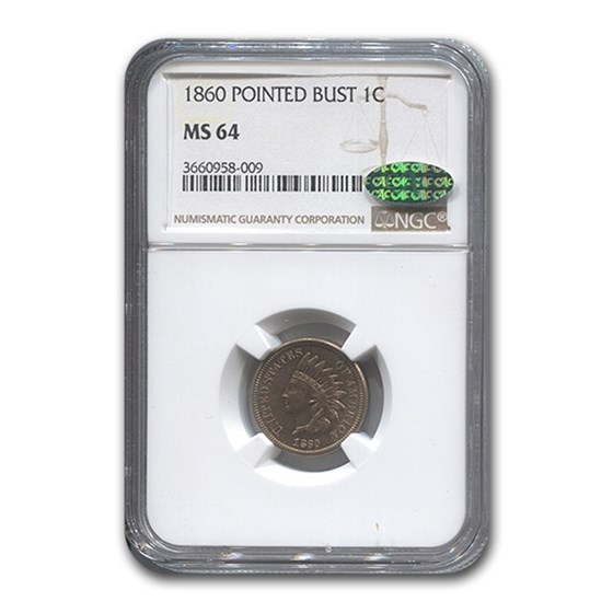 1860 Indian Head Cent MS-64 NGC CAC (Pointed Bust)