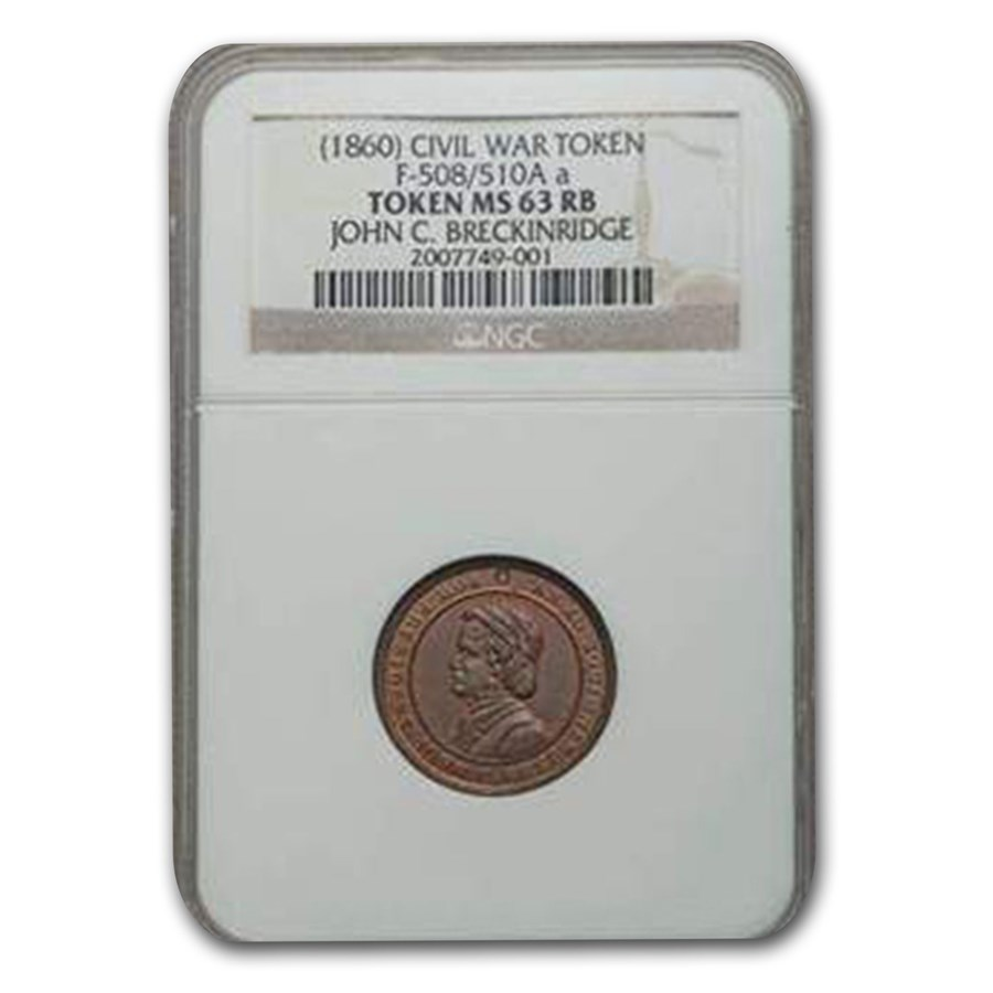 1860 John C. Breckinridge Civil War Token MS-63 NGC (Red/Brown)