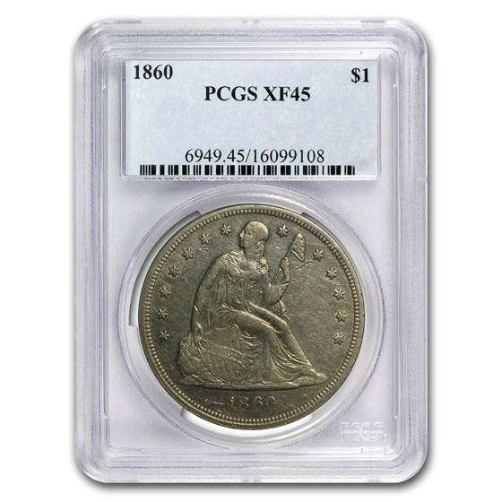 1860 Liberty Seated Dollar XF-45 PCGS