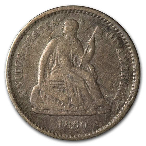 1860 Liberty Seated Half Dime VG (Details)