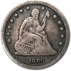1860 Liberty Seated Quarter VG
