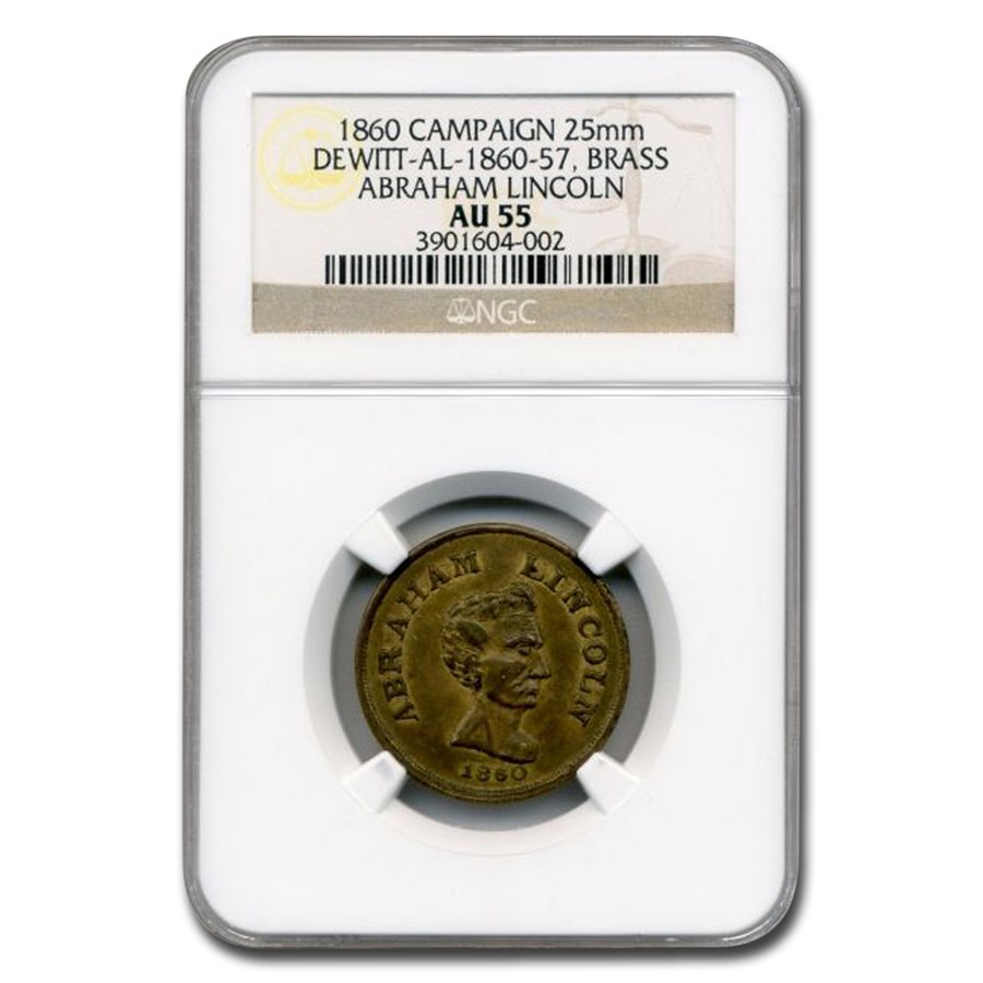1860 Lincoln Campaign Medal AU-55 NGC