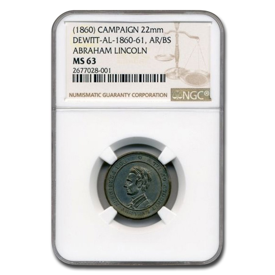 1860 Lincoln Campaign Medal Dewitt AL MS-63 NGC