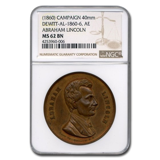 1860 Lincoln Campaign Medal MS-62 NGC (Brown)