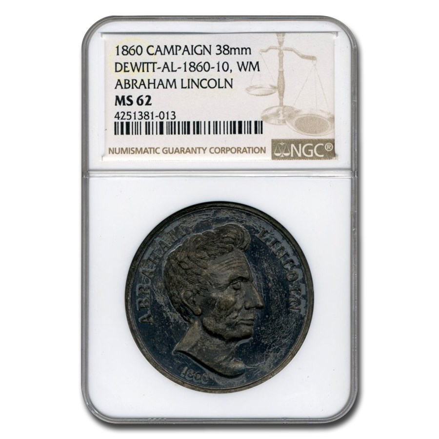 1860 Lincoln Campaign Medal MS-62 NGC