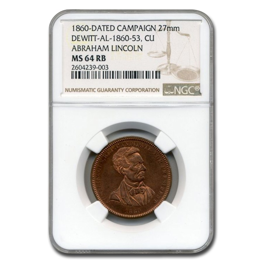 1860 Lincoln Campaign Medal MS-64 NGC (Red/Brown)