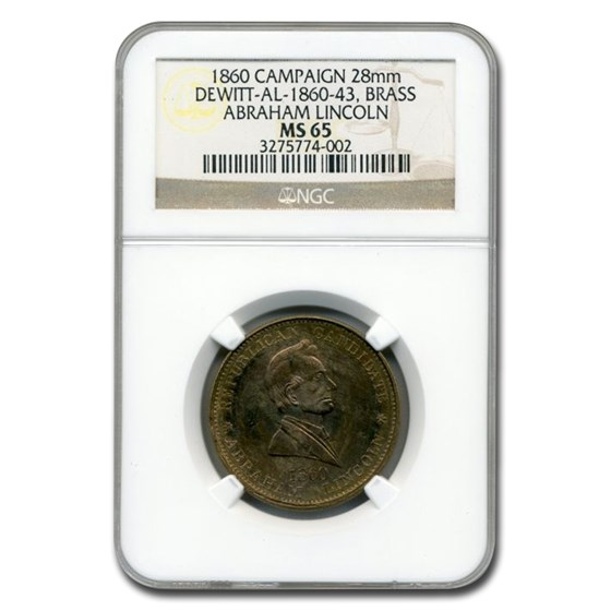 1860 Lincoln Campaign Medal MS-65 NGC