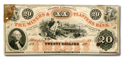 1860 Miners & Planters Bank of Murphy, NC $20 NC-35 VF