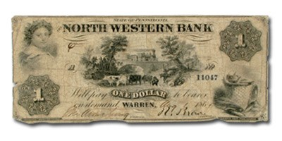 1860 North Western Bank,Warren,PA $1.00 PA-670, VG UNLISTED