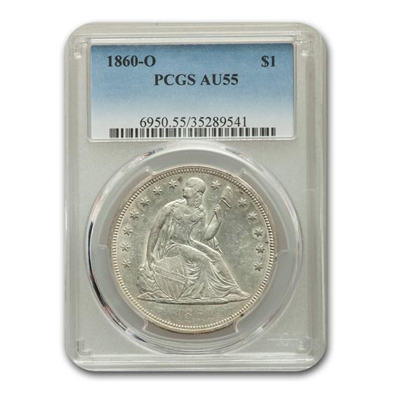 1860-O Liberty Seated Dollar AU-55 PCGS
