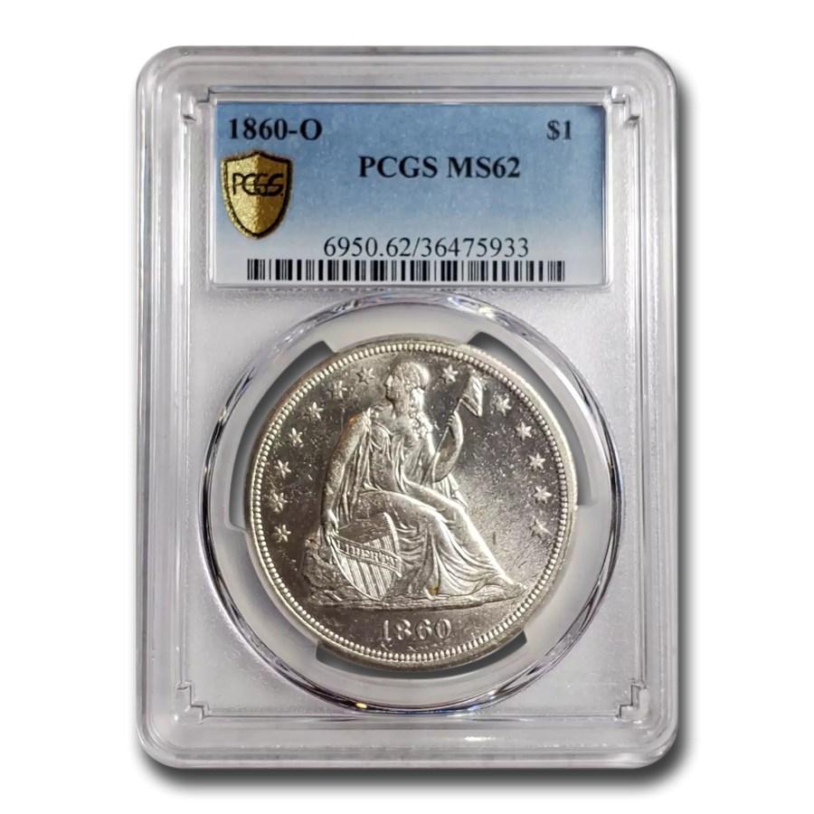 1860-O Liberty Seated Dollar MS-62 PCGS