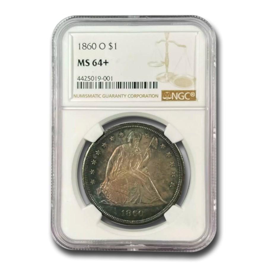 1860-O Liberty Seated Dollar MS-64+ NGC