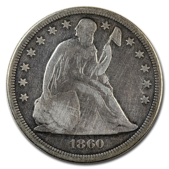 1860-O Liberty Seated Dollar VG Details (Cleaned)