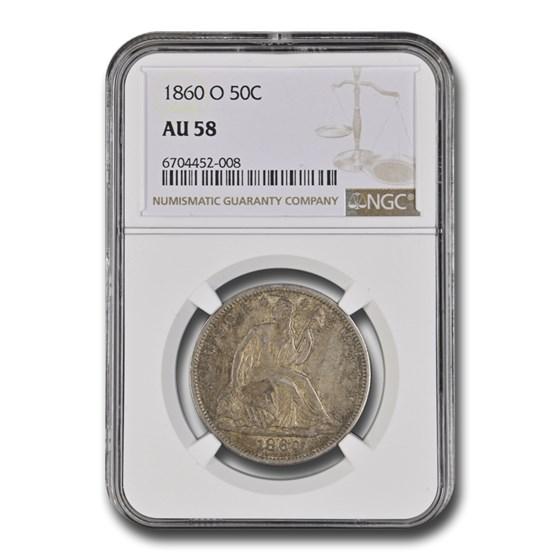 1860-O Liberty Seated Half Dollar AU-58 NGC