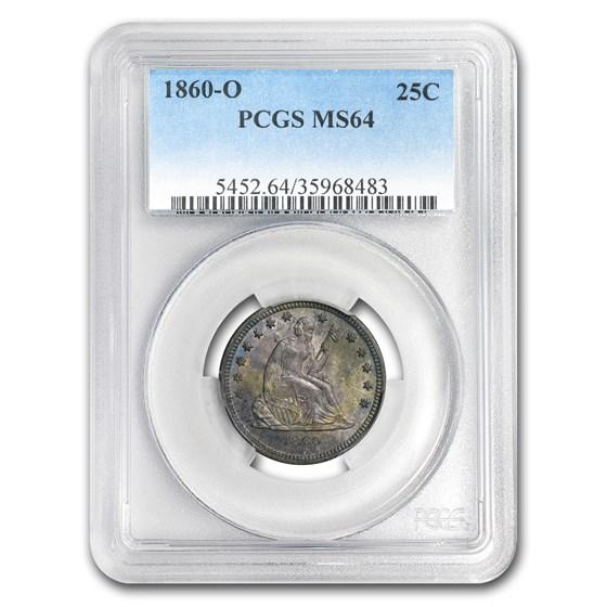 1860-O Liberty Seated Quarter MS-64 PCGS
