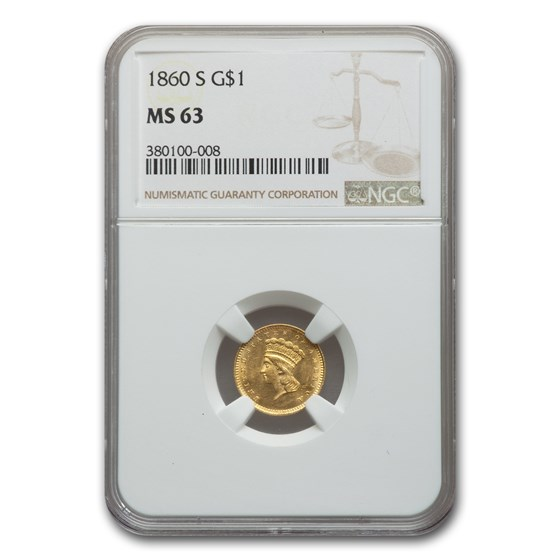 1860-S $1 Indian Head Gold MS-63 NGC