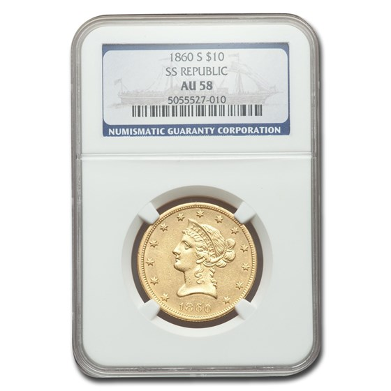 1860-S $10 Liberty Gold Eagle AU-58 NGC (SS Repblic)