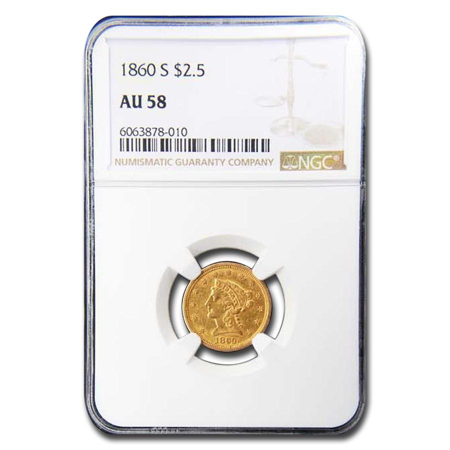 1860-S $2.50 Liberty Gold Quarter Eagle AU-58 NGC
