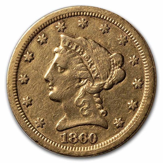1860-S $2.50 Liberty Gold Quarter Eagle VF Details (Cleaned)