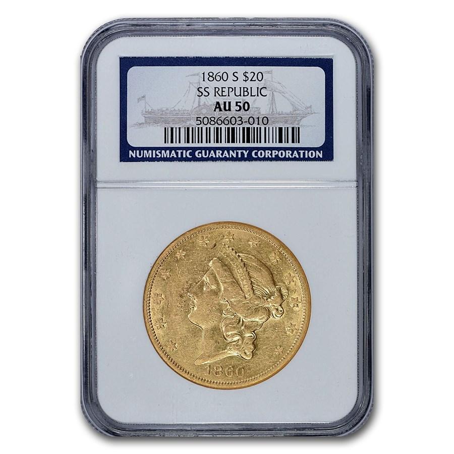 1860-S $20 Liberty Gold Double Eagle AU-50 NGC (SS Republic)