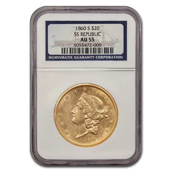 1860-S $20 Liberty Gold Double Eagle AU-55 NGC (SS Republic)