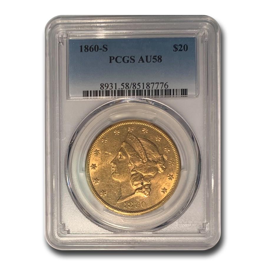 1860-S $20 Liberty Gold Double Eagle AU-58 PCGS
