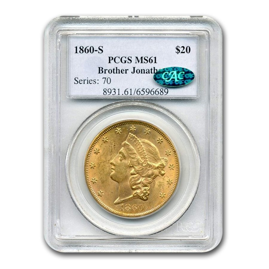 1860-S $20 Liberty Gold Double Eagle MS-61 PCGS CAC