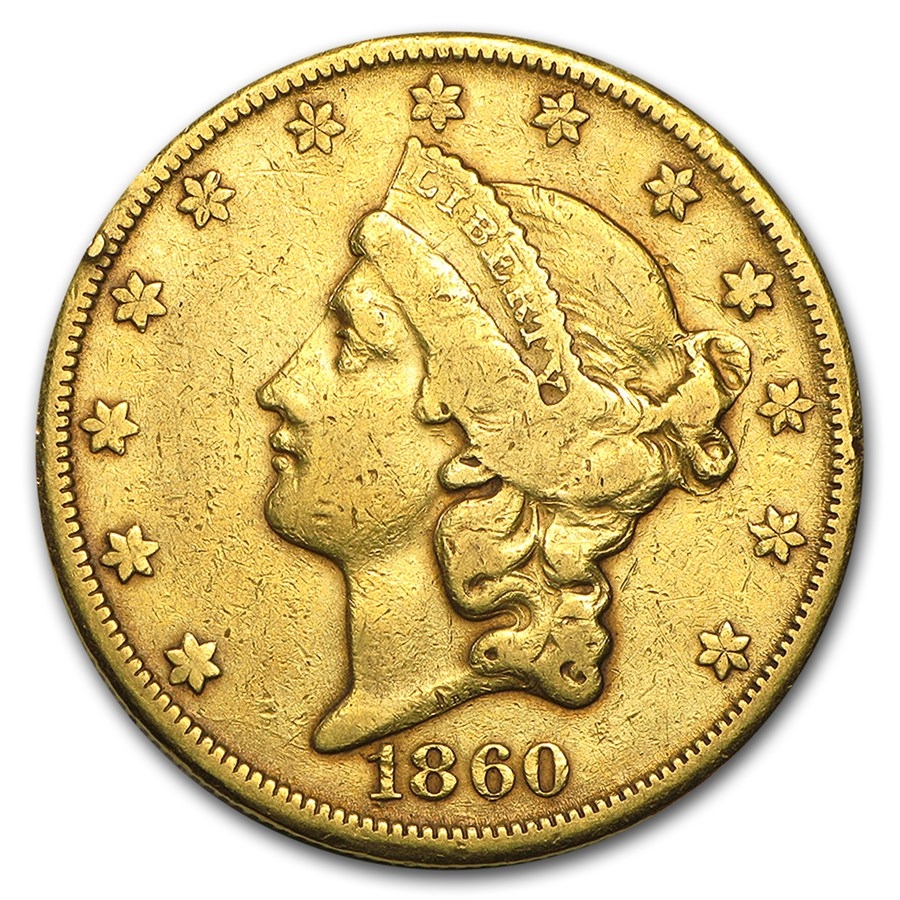 1860-S $20 Liberty Gold Double Eagle VF Details (Cleaned)