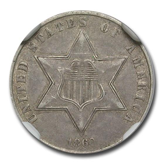 1860 Three Cent Silver AU-53 NGC