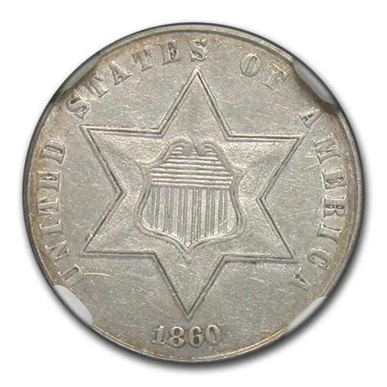 1860 Three Cent Silver AU-55 NGC