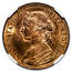 1860 Victoria Young Head 1/2 Penny MS-65 NGC (Red Brown)
