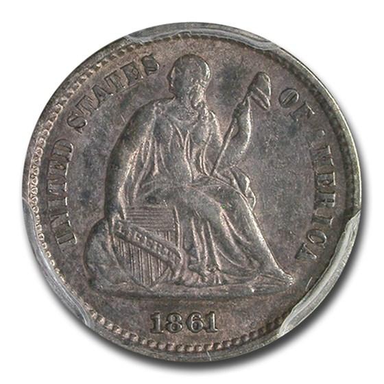 1861/0 Liberty Seated Half Dime AU-53 PCGS