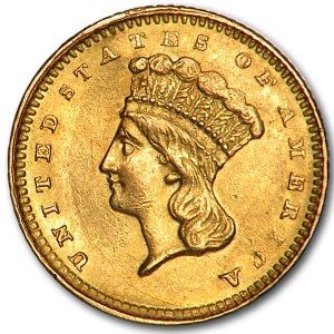 1861 $1 Indian Head Gold Dollar AU