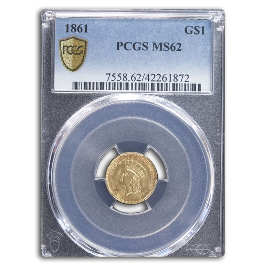 1861 $1 Indian Head Gold MS-62 PCGS