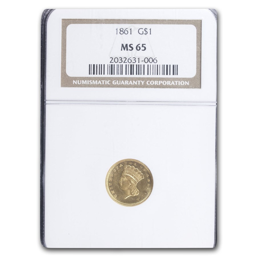 1861 $1 Indian Head Gold MS-65 NGC