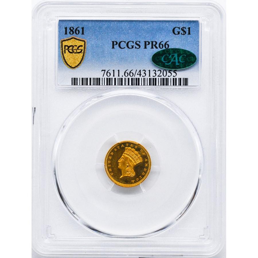 1861 $1 Indian Head Gold PR-66 PCGS