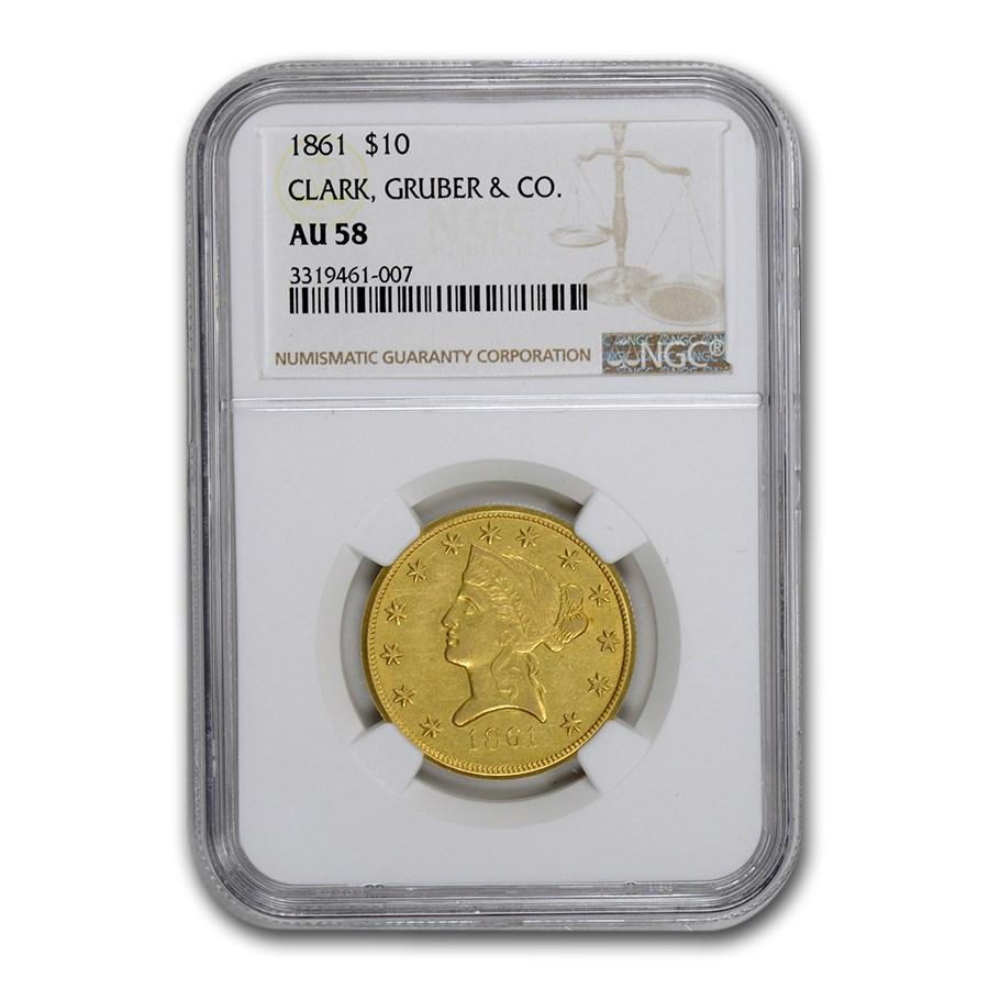 1861 $10 Clark Gruber Colorado Gold Rush AU-58 NGC