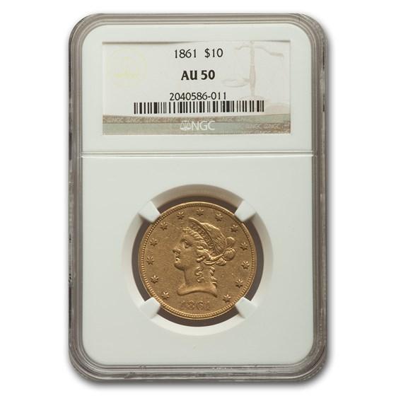 1861 $10 Liberty Gold Eagle AU-50 NGC