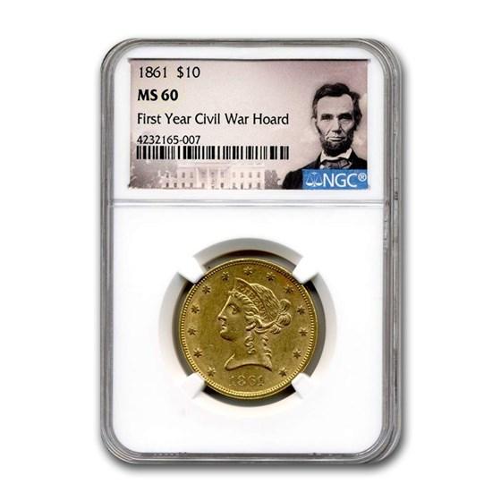 1861 $10 Liberty Gold Eagle MS-60 NGC