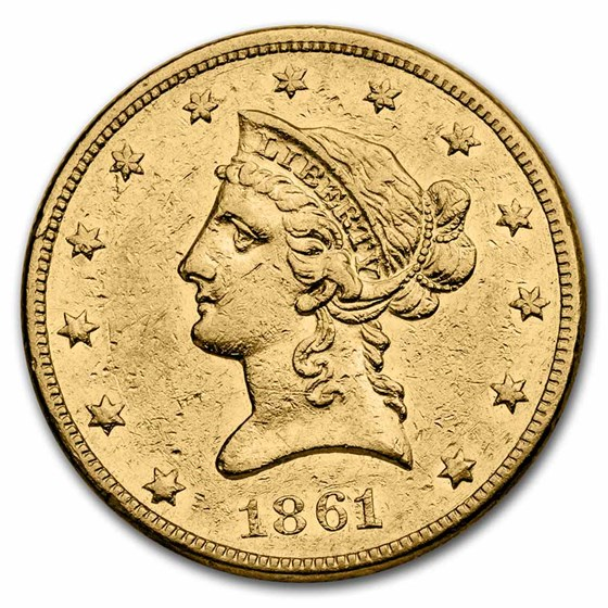 1861 $10 Liberty Gold Eagle XF Details (Cleaned)