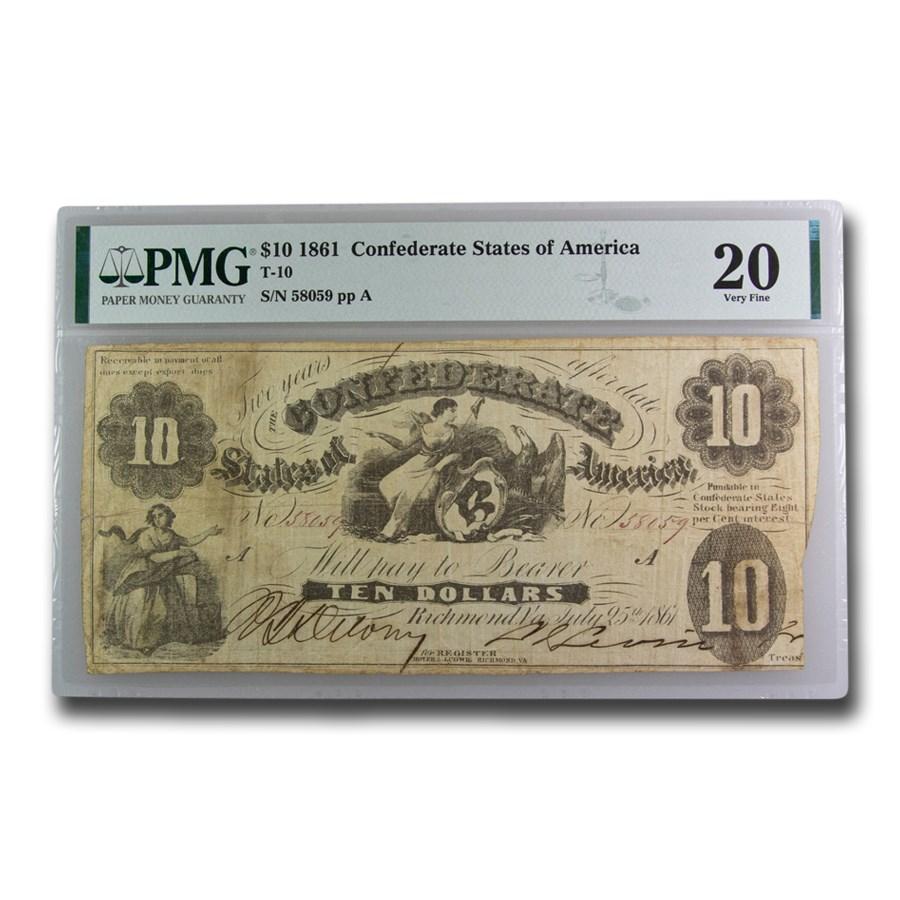 1861 $10 (T-10) Liberty & Eagle VF-20 PMG
