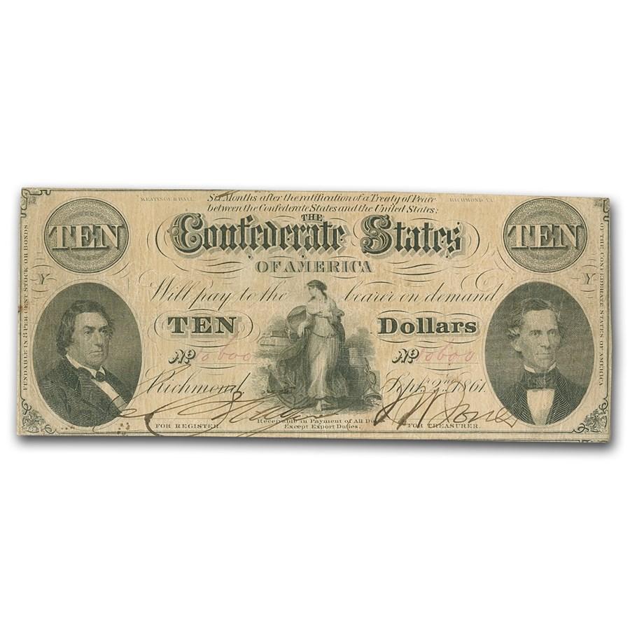 1861 $10 (T-25) Hunter & Memminger VF