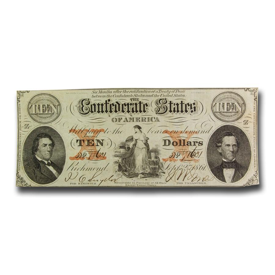 1861 $10 (T-26) Hunter & Meminger Hope w/Anchor VF