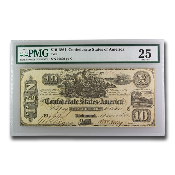 1861 $10 (T-29) Worker Picking Cotton VF-25 PMG