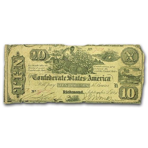 1861 $10 (T-29) Worker Picking Cotton VG