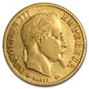 1861-1869 France Gold 10 Francs Napoleon III Laureate (Avg Circ)