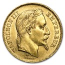 1861-1870 France Gold 20 Francs Napoleon III Laureate (AU)