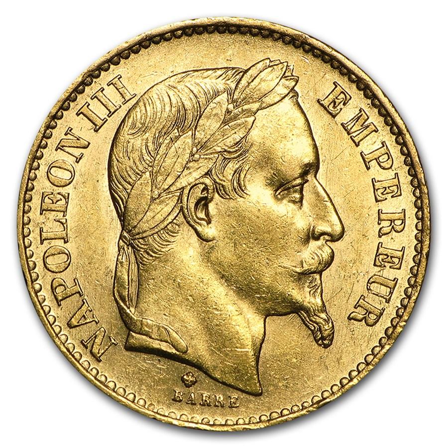 1861-1870 France Gold 20 Francs Napoleon III Laureate (AU)
